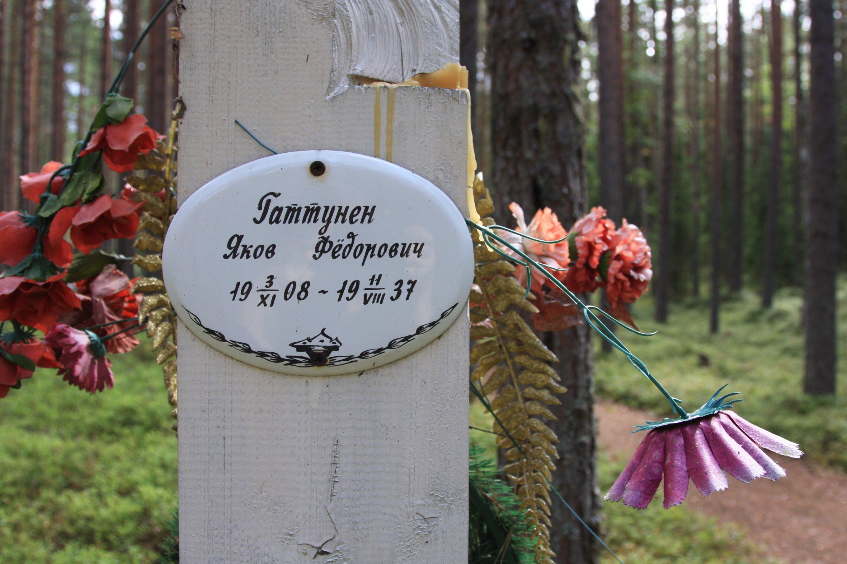 Памятная табличка «Гаттунен Яков Фёдорович». Фото 04.08.2018.