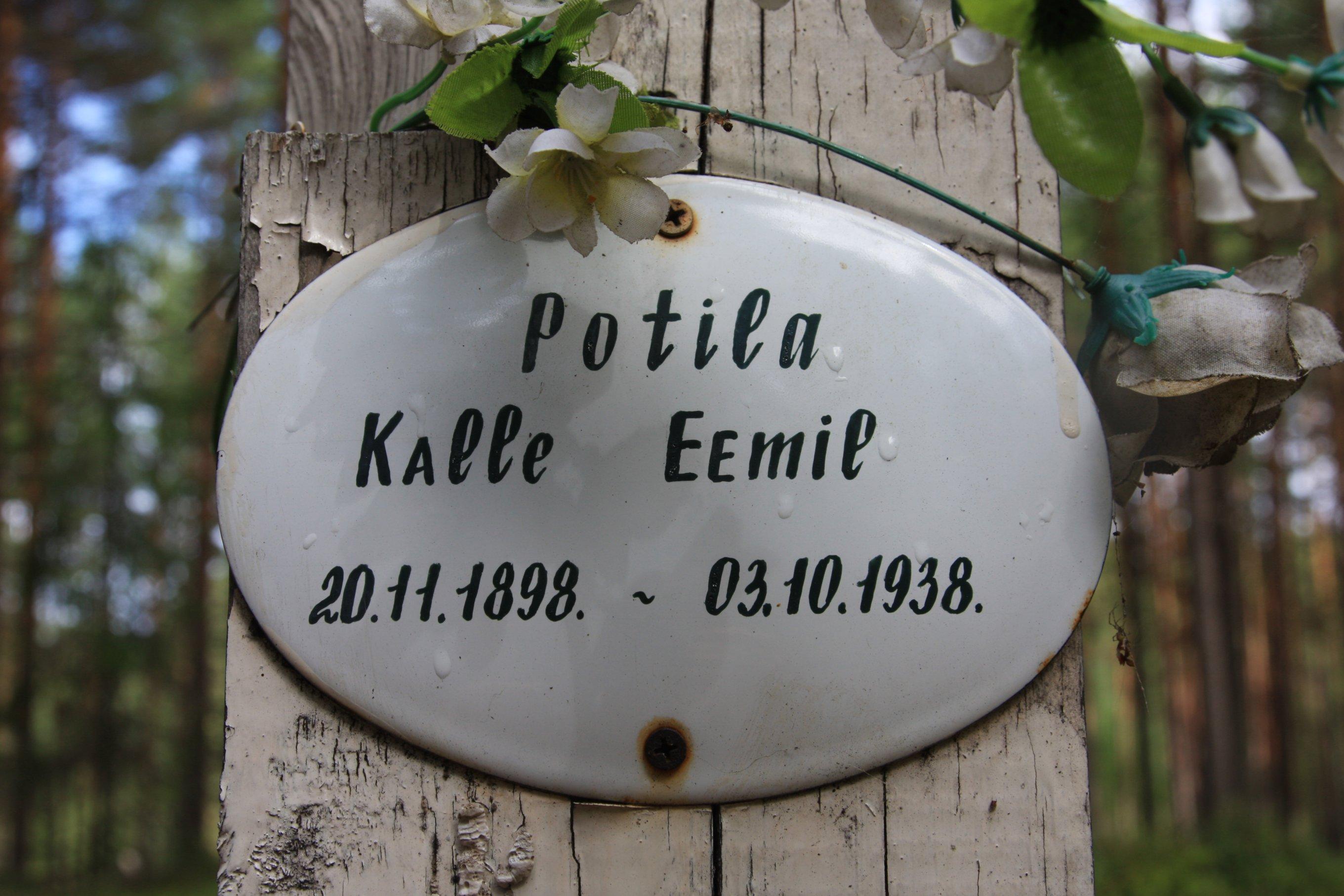 Памятная табличка «Potila Kalle Eemil». Фото 04.08.2018.