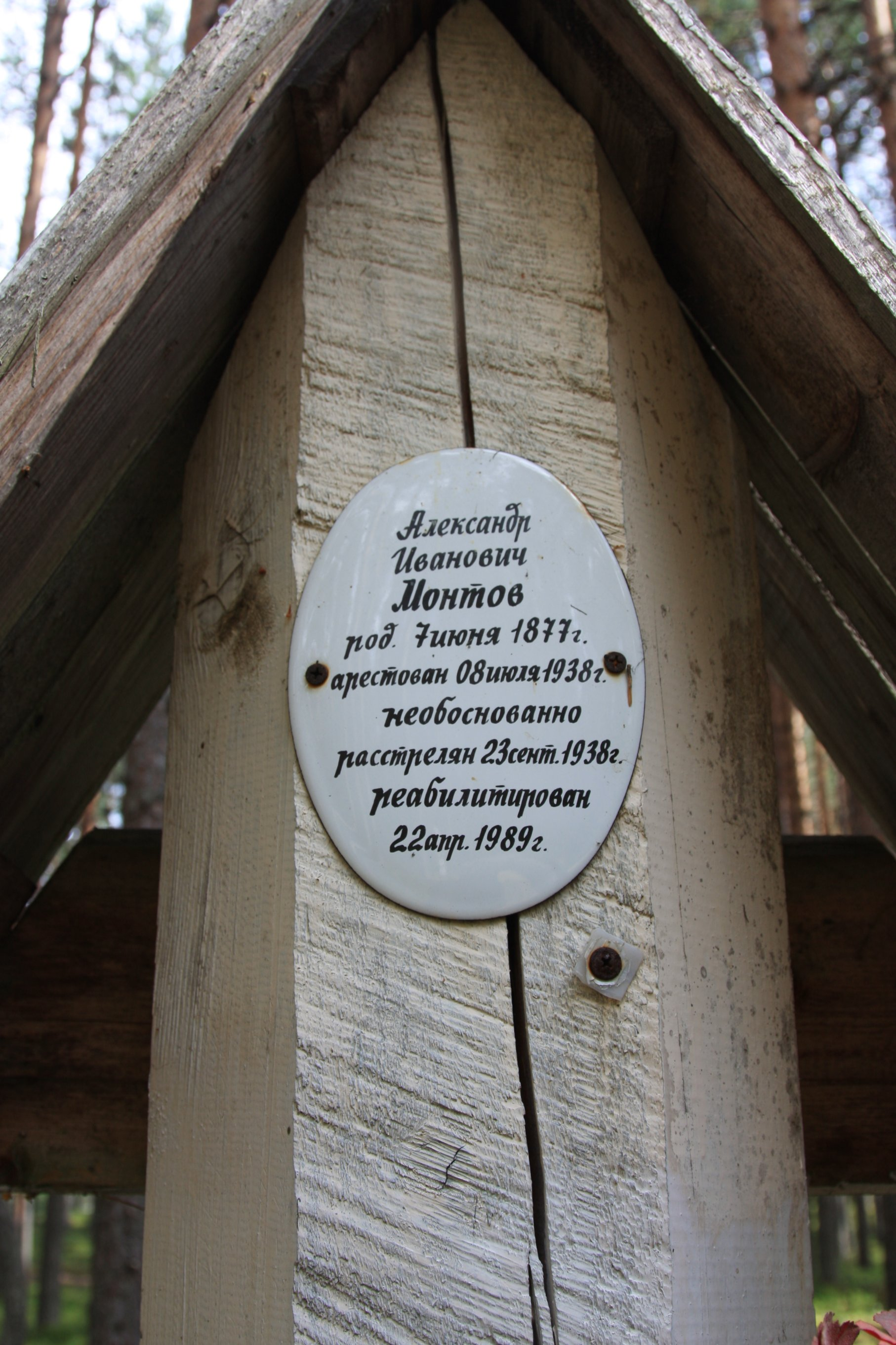 Памятная табличка «Александр Иванович Монтов». Фото 04.08.2018.