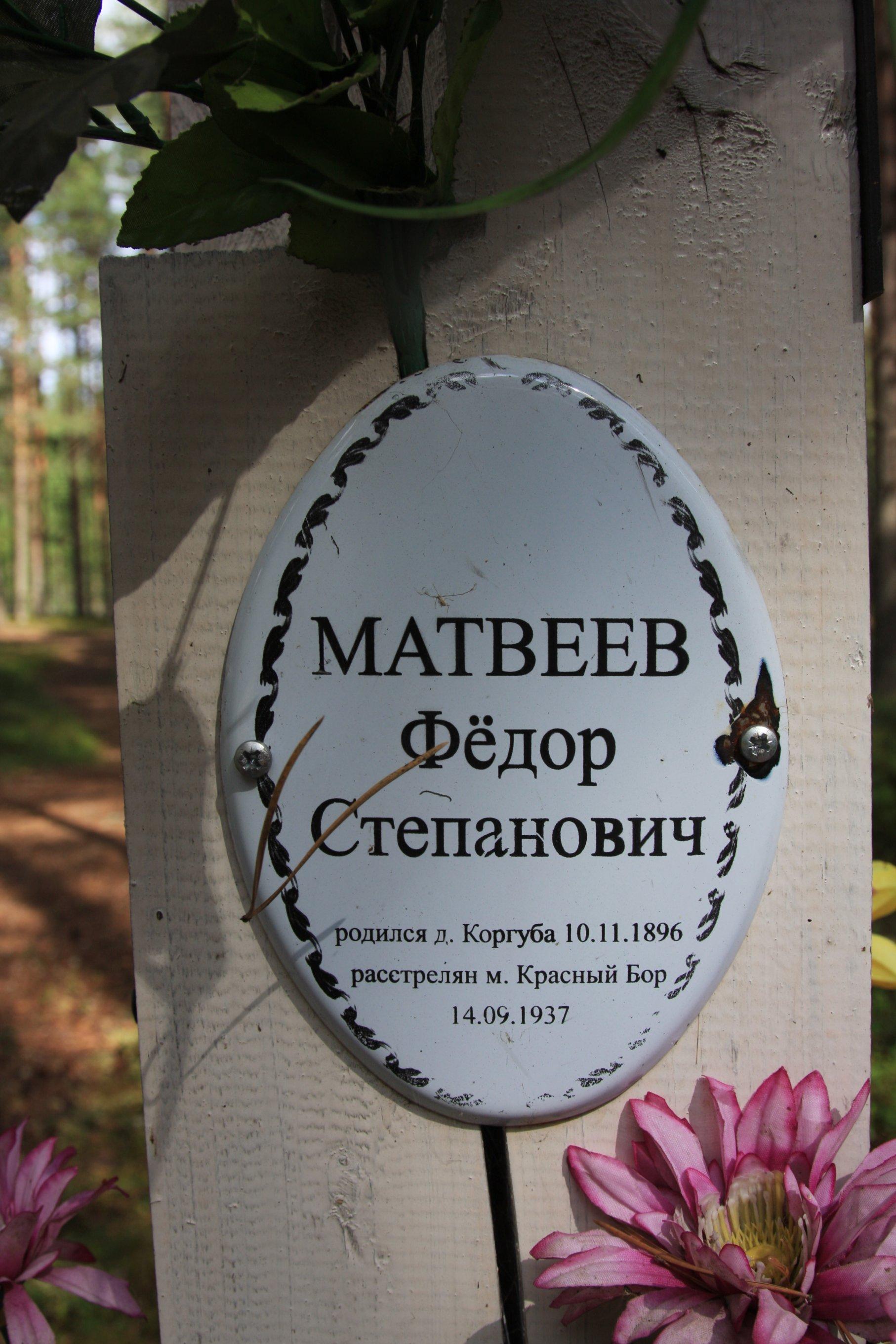 Памятная табличка «Матвеев Фёдор Степанович». Фото 04.08.2018.