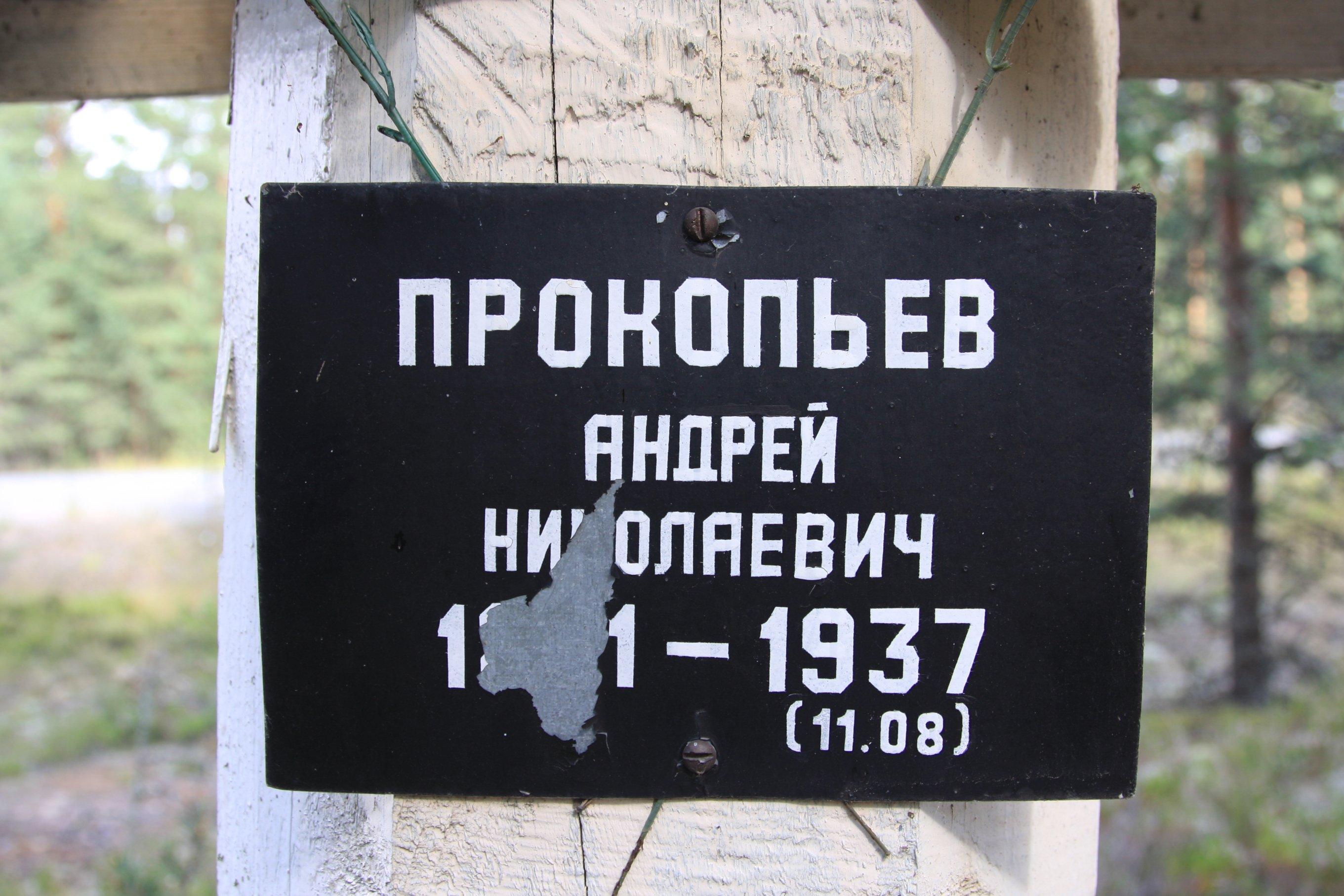 Памятная табличка «Прокопьев Андрей Николаевич». Фото 04.08.2018.